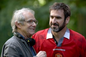 Director Ken Loach with Eric Cantona on the set of the 2009 film Looking For Eric.
