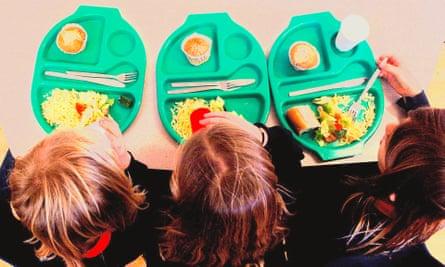 School children at mealtime.