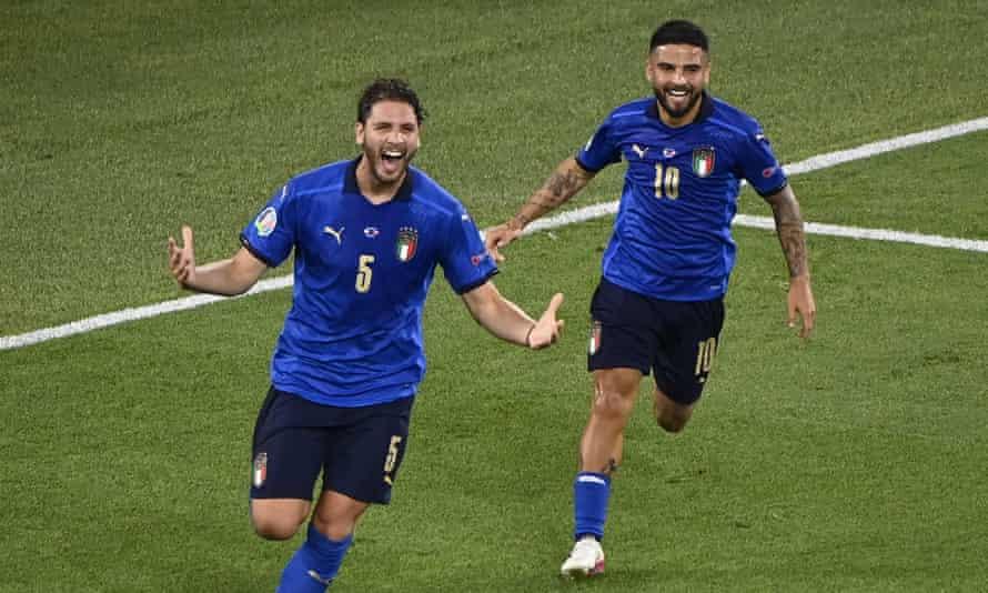 Italy's Manuel Locatelli celebrates his opening goal against Switzerland