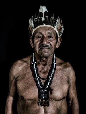 Orlando da Silva, 73 years old, a Macuxi indigenous man and tuxaua (local chief) of the Uiramutã indigenous community