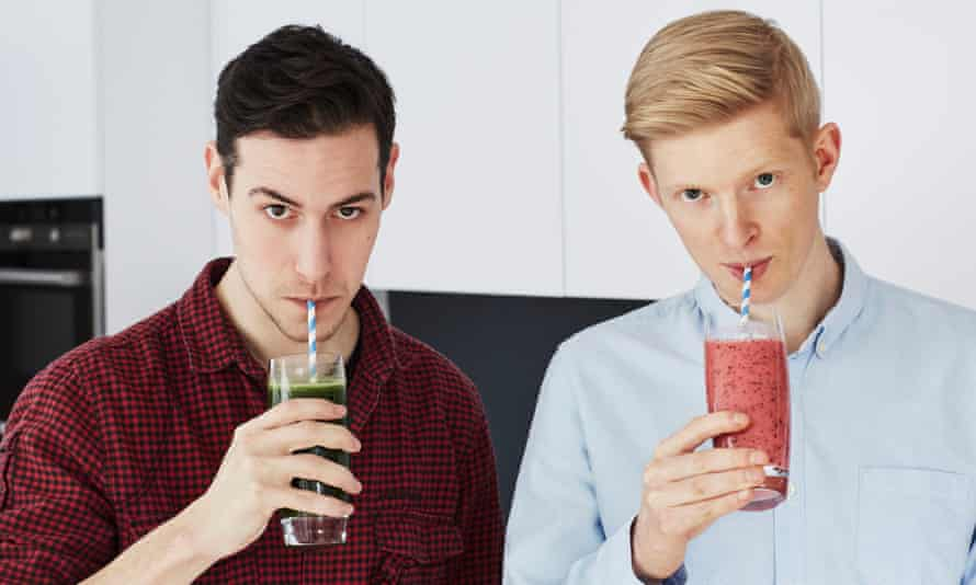 Pack'd founders Alex Stewart and Luke Johnstone drinking smoothies