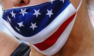 A face mask with American flag colours