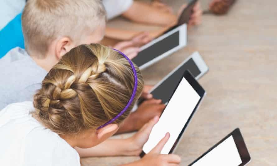 Kids using tablets