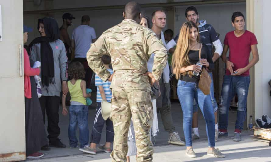 The arrivals were temporarily housed at a warehouse at RAF Akrotiri in Cyprus.