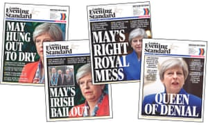Evening Standard headlines criticising Theresa May