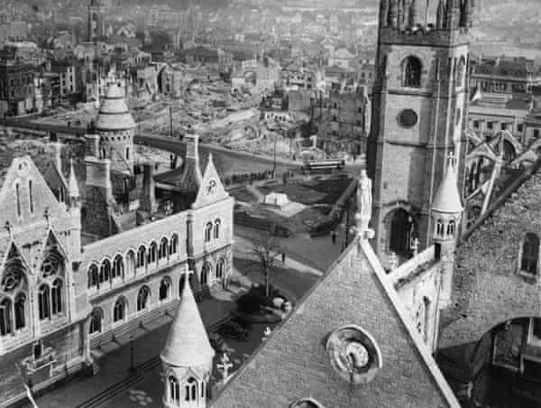 Bomb damage in Plymouth, c1940.