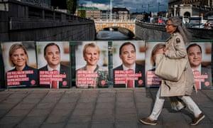 Social Democrat campaign posters in Stockholm