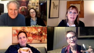 What Do We Need To Talk About? by Richard Nelson, featuring (clockwise from top left): Jay O Sanders and Maryann Plunkett, Sally Murphy, Laila Robins and Stephen Kunken.