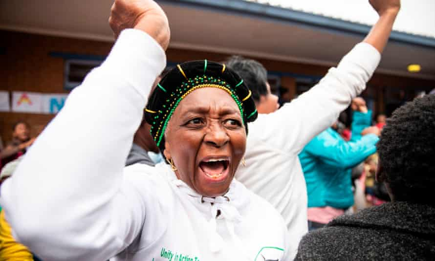 An African National Congress supporter in Soweto on Wednesday.