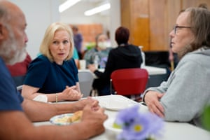 Senator Kirsten Gillibrand, Democratic presidential candidate, talks to Iowa residents who were displaced by flooding.