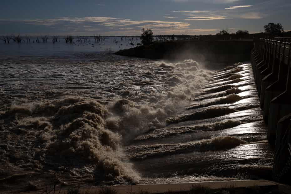 Water pours into Menindee Lake from the open weir.