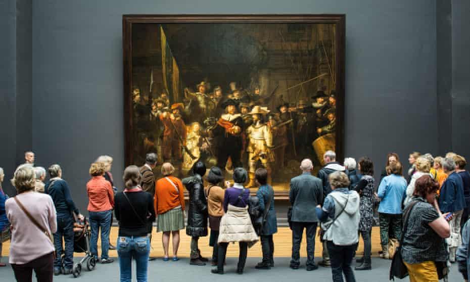 Rembrandt's The Night Watch in Amsterdam's Rijksmuseum.
