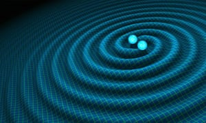 An artist's impression of gravitational waves generated by neutron stars heading for a collision.
