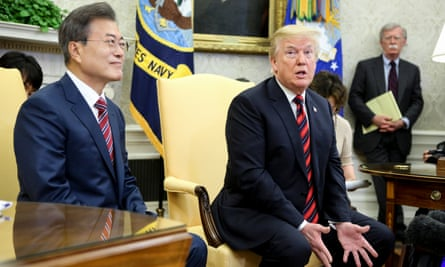 The US president at the White House with South Korean president Moon Jae-in on Tuesday. Moon told Trump the 'fate and the future' of the Korean peninsula hinged on the talks.