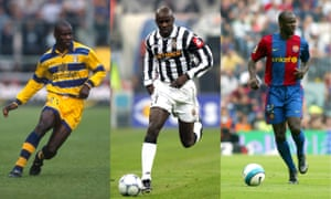 Lilian Thuram playing for Parma, Juventus and Barcelona.