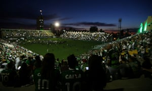 Fans pay tribute to Chapecoense's players at the Arena Conda stadium in Chapeco, Brazil on Wednesday.