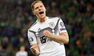 Marcel Halstenberg celebrates putting Germany 1-0 up against Northern Ireland at Windsor Park in their Euro 2020 qualifier