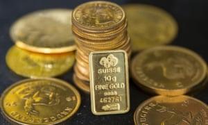 Gold bullion is displayed at Hatton Garden Metals precious metal dealers.