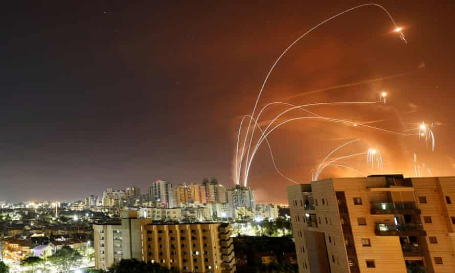 Israel's anti-missile system intercepts rockets launched from the Gaza Strip last Wednesday