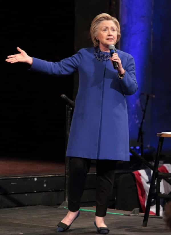Hillary Clinton in one of her trademark trouser suits