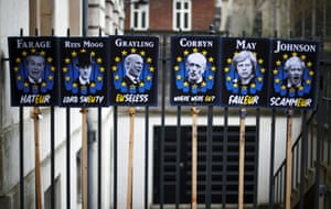 London, England Anti-Brexit protest signs are displayed in London