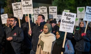 Supporters of Grenfell victims on a protest march around North Kensington, London