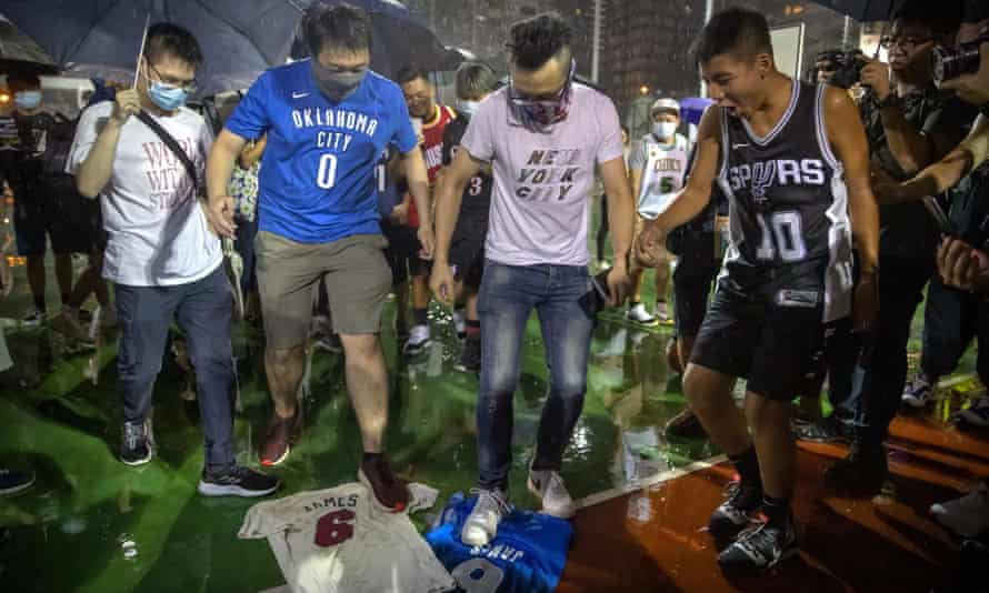 Demonstrators in Hong Kong were angry with the NBA after what they perceived a lack of support from the league in their dispute with China