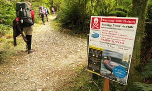 A sign warning of the use of poison along the Milford Track in New Zealand.