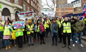 Protesters in London on Saturday.