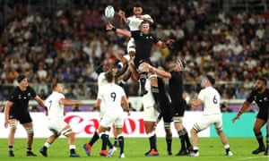 Courtney Lawes of England wins a lineout over Kieran Read of New Zealand.