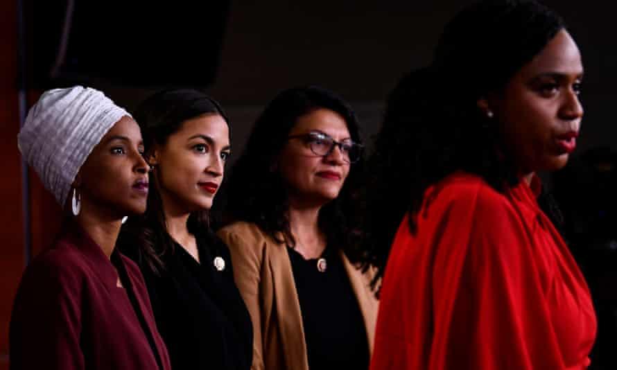 Ayanna Pressley speaks at a press conference with Ilhan Omar, Alexandria Ocasio-Cortez and Rashida Tlaib.