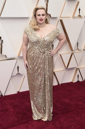 Rebel Wilson arrives at the Oscars on Sunday, Feb. 9, 2020.