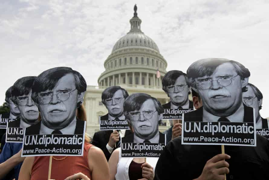 Protesters in Washington DC object to John Bolton's nomination as US ambassador to the United Nations in 2005.