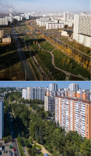 Chernomorsky boulevard in 1972, with high-rises replaces more modest buildings by 2015. Moscow Russia