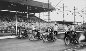 Cyril Roger, Aub Lawson, Tommy Price, and Graham Warren pull away from the line at the start of a Heat 3 of the England v Australia Test meeting at New Cross in July 1949. England won 62-46.