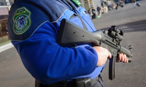 An armed policeman in Geneva.