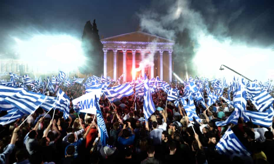 An election rally in front of the Zappeion in the heart of Athens in 2012.
