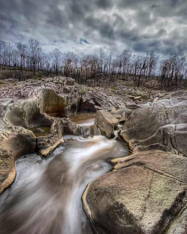 This image taken in February 2020 shows the barren landscape around the Genoa River in East Gippsland, Victoria