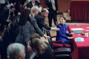 Ginsburg is greeted by her husband, Martin, during her confirmation hearing on Capitol Hill on 20 July 1993.