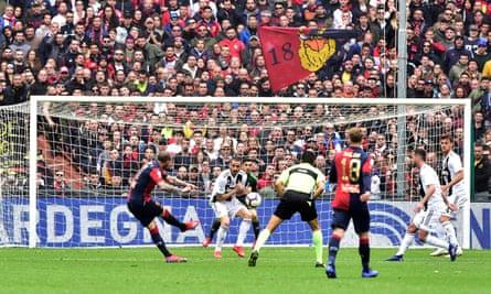Genoa's Stefano Sturaro scores their first goal at the Stadio Comunale Luigi Ferraris