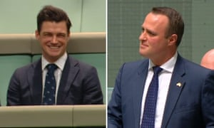 Liberal MP Tim Wilson proposes to his partner Ryan Bolger during his speech on marriage equality in the in the House of Representatives.
