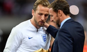 England manager Gareth Southgate with Harry Kane, who captained the team at the last World Cup finals.