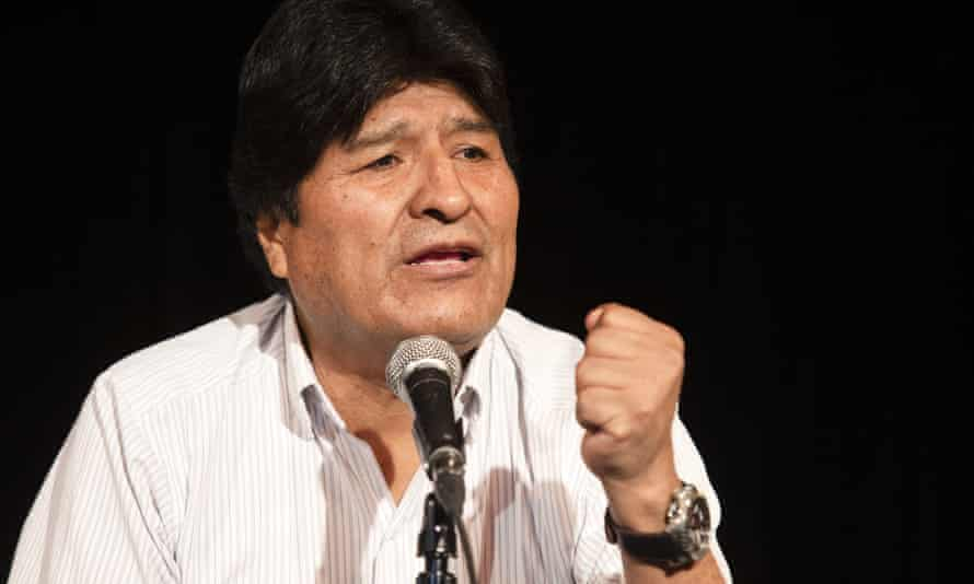 Evo Morales holds a press conference in the Argentinian capital Buenos Aires where he is now based.