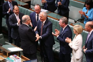 Malcolm Turnbull congratulates treasurer Scott Morrison after he delivered the 2017 Budget.