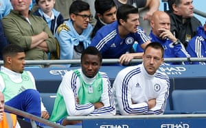 John Terry sat on the bench after being substituted at half time.