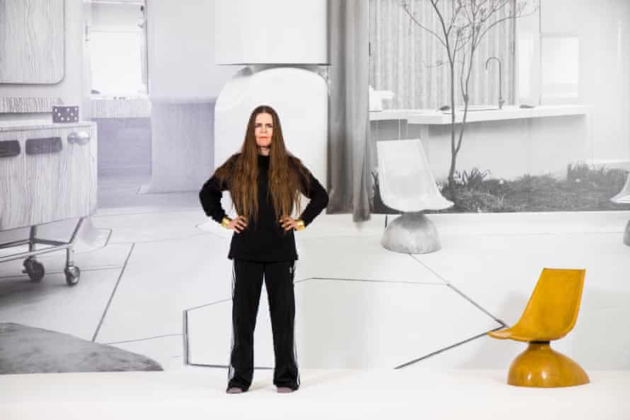 Tomorrow's world … Linder pictured with House of the Future by Alison and Peter Smithson, which features in her show.