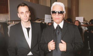Lagerfeld with the Dior Homme designer Hedi Slimane in 2001.