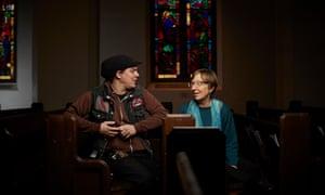 Activist Shilo Jama with Reverend Pat Simpson in University Temple United Methodist church.