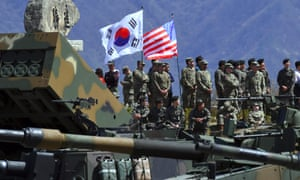 South Korean and US soldiers take part in live-firing drills in 2017. This August's drills will not take place.