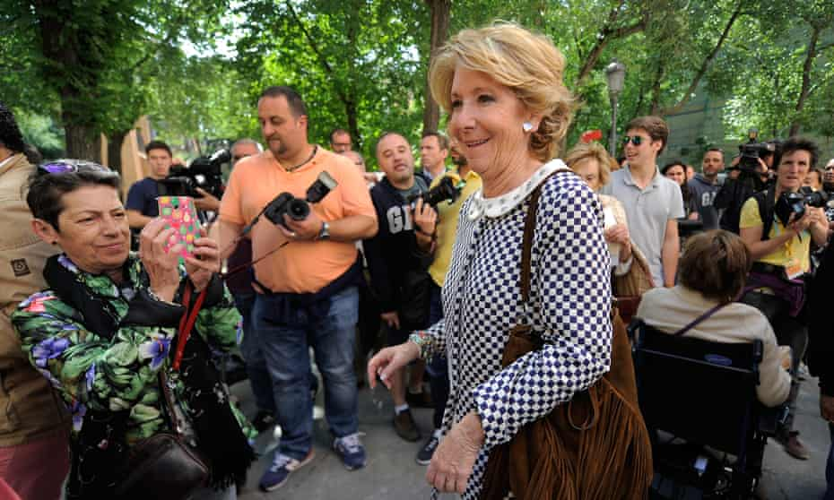 Esperanza Aguirre, after voting in 2015. This month she quit as Madrid regional president of the Popular party amid a corruption scandal.